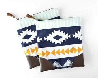 Womens Zipper Clutch, Boho Purse, Leather Foldover Clutch, Aztec Gift for Teen Girl, Southwest Bag, Folded Clutch Purse Womens Clutch Wallet
