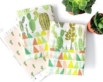 Cactus Passport Cover, Fabric Passport Holder, Cactus Gift for Traveler, Travel Passport Wallet, Cactus Accessories, Passport Organizer