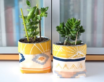 Fabric Planter, Plant Pot Cover, Small Fabric Bucket, Gift for Gardener, Plant Holder, Fabric Storage Bin, Makeup Brush Holder, Plant Decor