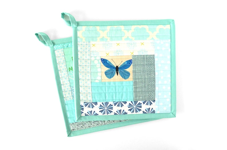 Blue Pot Holder Set, Kitchen Decor, Fabric Hot Pad Holders, Turquoise  Kitchen Accessories, Quilted Potholders, Housewarming Gift for Mom