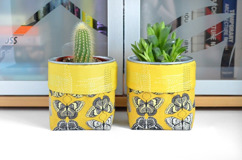 College Dorm Decor Fabric Plant Pot Pencil Cup Butterfly image 0