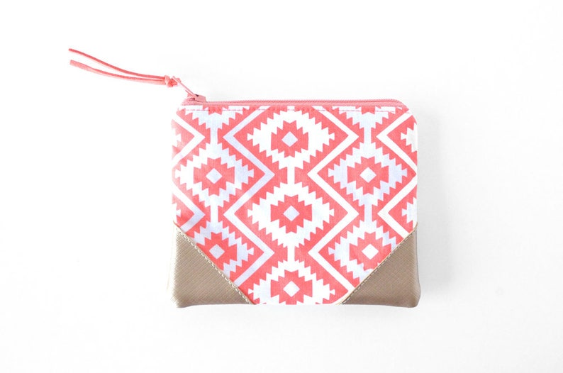 Credit Card Holder for Women Small Gift for Teen Girl Zipper Card Wallet Coral Coin Purse Boho Zipper Pouch Vegan Leather Card Holder