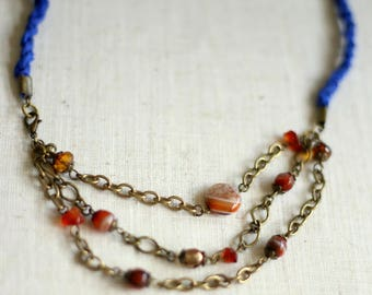 Multi Strand Necklace with Blue Sari Silk and Agate