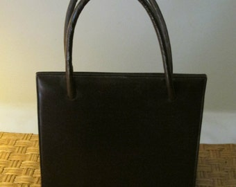 0b9401557077 Gorgeous Vintage Brown Leather Handbag Purse   1950s or 60s   Lily