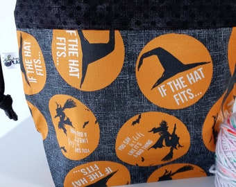 If the Hat Fits, Flying Witches, Spooky, Drawstring, Halloween, Project Bag, Ready to Ship RTS