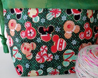 Holiday at the Park, Christmas Mouse Attack, Ornament Mouse Ears, Custom Fabric, Drawstring Project Bag,  Medium Sized, Special Edition