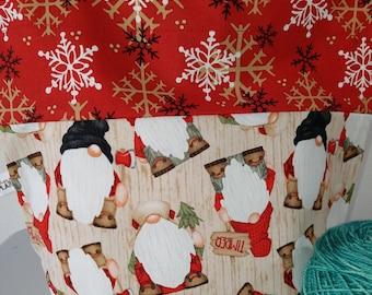 Timber Holiday Gnomes, Wood Paneling, Drawstring Project Bag, Ready to Ship  Medium Sized