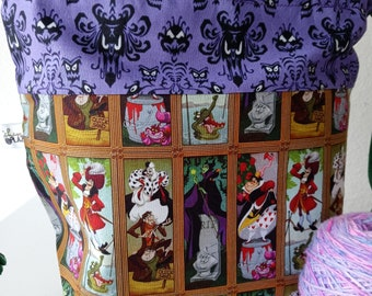Haunted Mansion Stretching Pictures, Classic Disney Villains, Drawstring, Halloween, Project Bag, Ready to Ship RTS