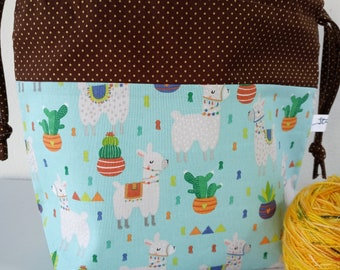 Save the drama for the LLAMA! Llama, Cacti, Cactus, South Western, Ready to Ship Drawstring Project Bag, Medium Sized, Halloween Collection
