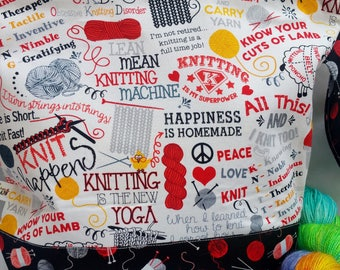 Large WIP Zipper Project Bag, Wedge Bag, Knit Happens, Knitting Quotes Bag, Knitting Bag, Zippered Project Bag, Knitting bag Zipper