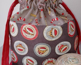 I'll be a MONKEY's Uncle, Sock Monkey,  Ready to Ship Drawstring Project Bag, Medium Sized, Halloween Collection