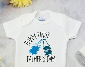 First Father's Day Onesies® Bodysuit, Pregnancy Announcement, Custom Father's Day Gift for Dad, Funny Beer Shirt, Happy First Father's Day