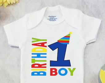 First Birthday Boy OnesiesR Brand Or CartersR Bodysuit Shirt Baby Outfit Cake Smash Prop Party