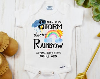 8abedf7bdbae6 IVF Rainbow Baby Onesie ®, Personalized Custom Pregnancy Announcement Reveal,  IVF Warrior, After Every Storm There is a Rainbow