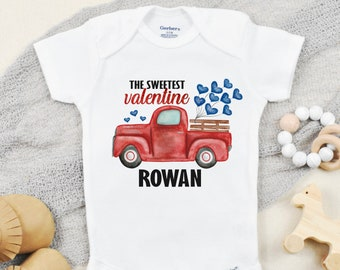 Valentines Day Onesies ® for Baby Boy, Toddler Boy Valentine Shirt, Personalized Valentines Baby Outfit with Name, The Sweetest Valentine