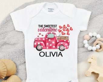 Valentines Day Onesies ® for Baby Girl, Toddler Girl Valentine Shirt, Personalized Valentines Baby Outfit with Name, The Sweetest Valentine
