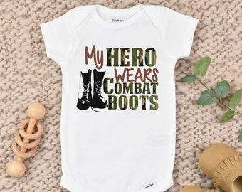 Baby Onesie\u00a9 My Mommy Wears Combat Boots Military Army Navy Air Force Marines Deployment Baby Shower Gift Nursery Clothing Infant Gerber\u00a9