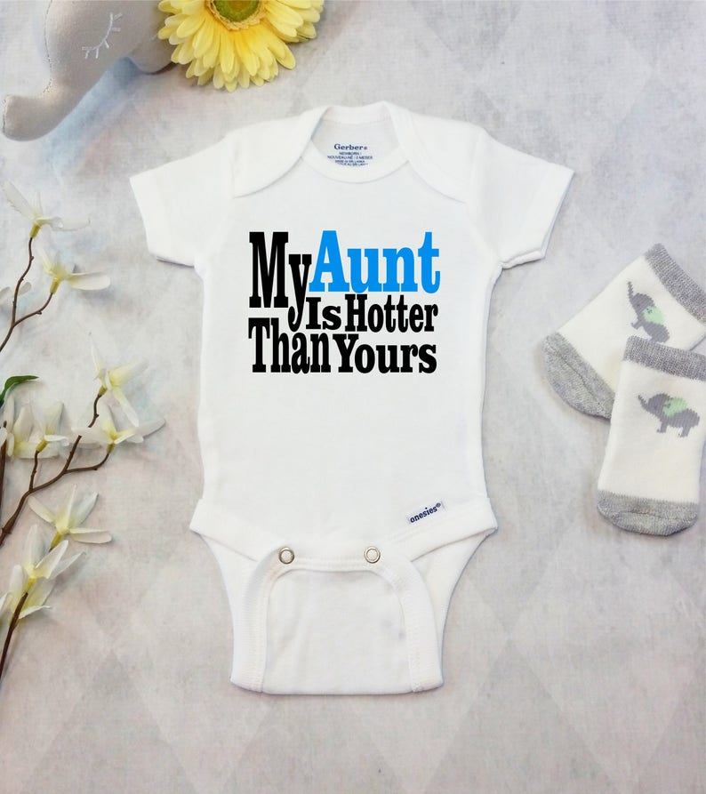 8419e81f395f6 Aunt Onesies® Brand or Carter's® Bodysuit Pregnancy Announcement to Aunt  Funny Auntie Shirts Baby BOY or GIRL My Aunt is Hotter Than Yours