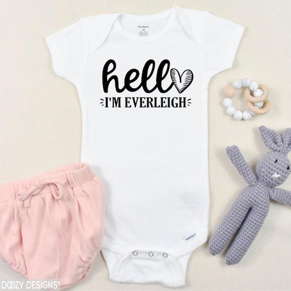 baby girl clothes newborn photo prop Custom baby onesie baby shower gift newborn gift Hello my name is Onesie baby gift