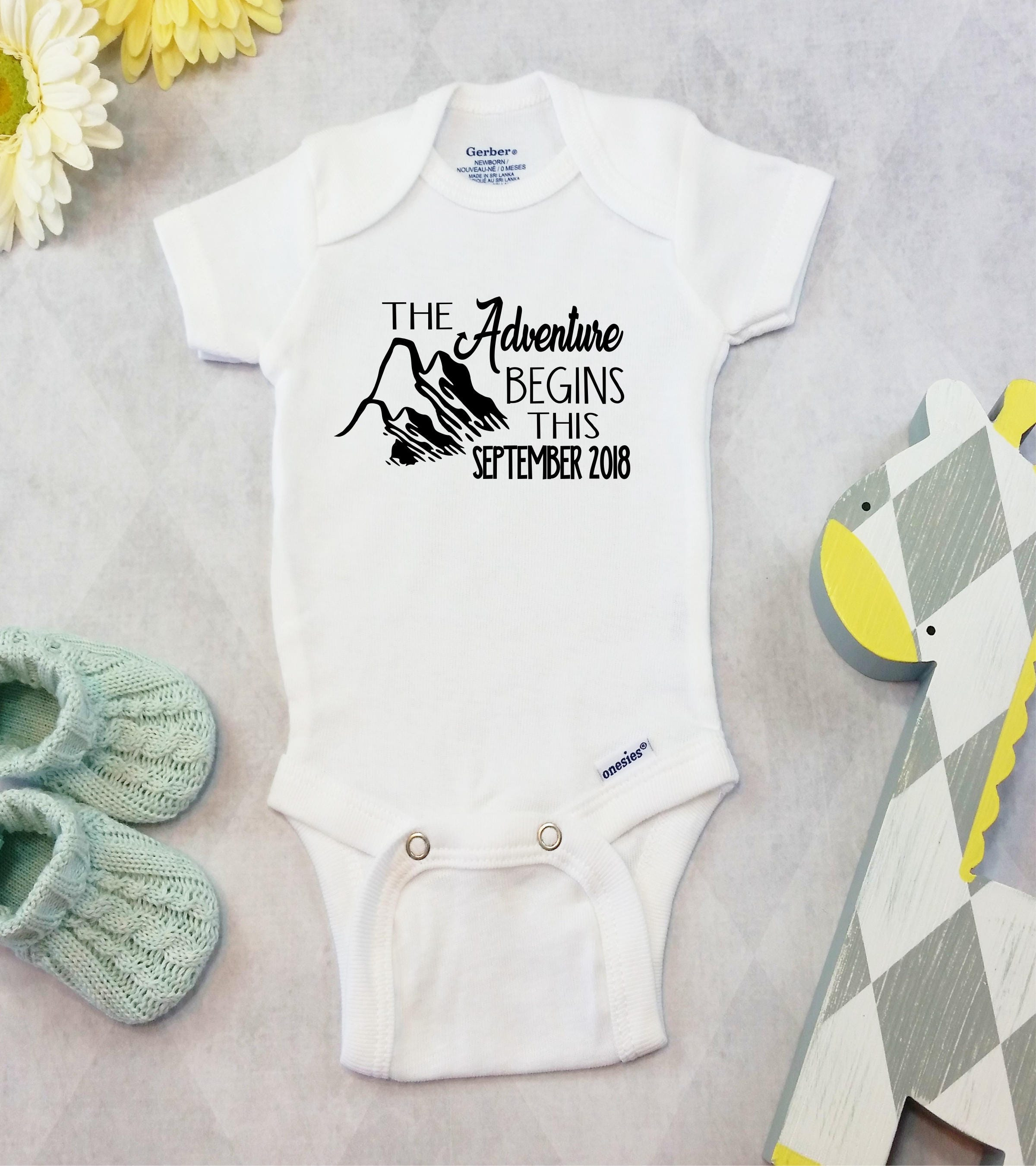 259552566 The Adventure Begins Custom Pregnancy Announcement Onesies® | Etsy