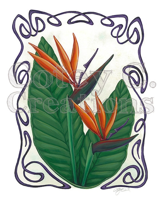 Bird of Paradise Art Nouveau Floral Wall Art