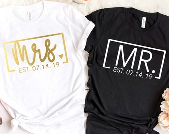 eb5c27251aac Mrs. and Mr. Est. Date Couple Tees - Wedding Tees - Wedding Anniversary -  Honeymoon Trip Shirts - Honeymoon Shirts - Newlywed T-Shirts
