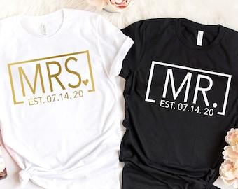 52af16cf62 Mrs. and Mr. Est. Date Couple Tees - Wedding Tees - Wedding Anniversary -  Honeymoon Trip Shirts - Honeymoon Shirts - Newlywed T-Shirts
