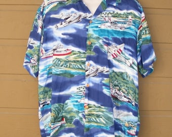 fca34b19 Vintage PARADISE FOUND Hawaiian Shirt, XL, Planes, Short sleeves, Pocket