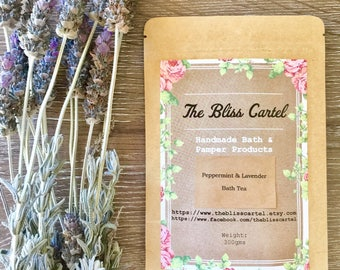 Bath Salts, peppermint & lavender, bath tea, herbal soak, herbal bath, Epsom salts, bath soak, vegan bath products, herbal bath salts, spa