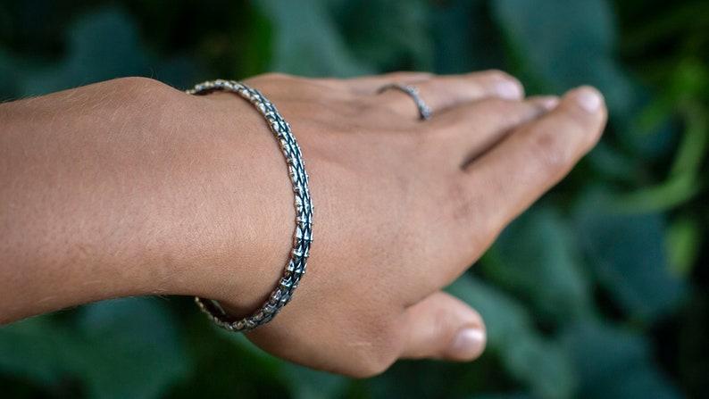 Silver Cuff Bracelet Snake Scales Bangle Mens Cuff Bracelet Silver Bangle Bracelet Sterling Silver Cuff Bracelets For Women