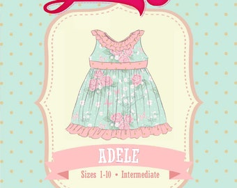 ed3f3962f03d6 Adele Dress PDF Sewing Pattern Ruffle Neckline: Sizes 1 to 10 | Etsy