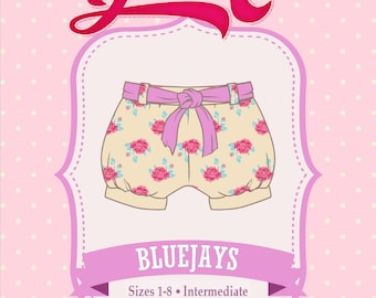 Bubble Shorts, Blue Jays Shorts PDF Sewing Pattern - Girls, Bubble Shorts, Tie Belt, Elastic Waist