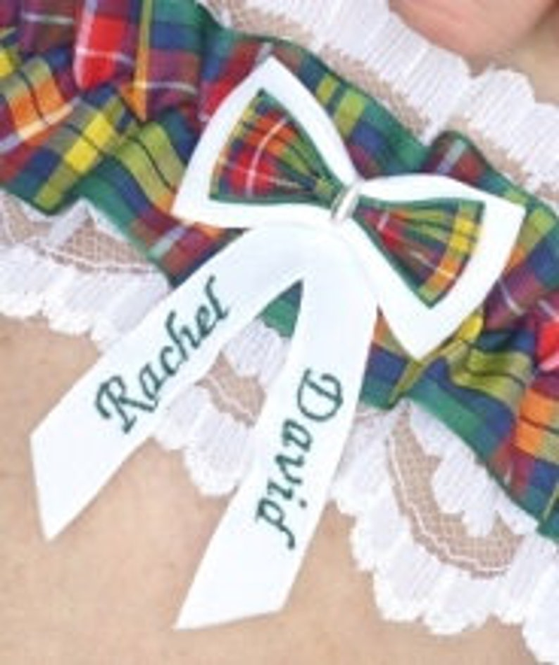 Personalised Tartan Wedding Garter Buchanan Tartan & White