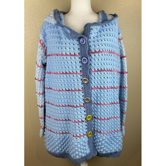 Vintage Knit Sweater Cardigan with Hand-Crochet Trim and Hand-Knit Flowers Cotton and wool blend; elegant, cute