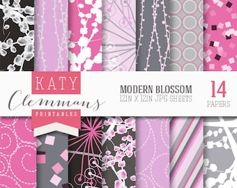 MODERN BLOSSOM digital paper pack. Pretty floral, ditsy, blossom patterns. Scrapbook printable sheets - instant download.