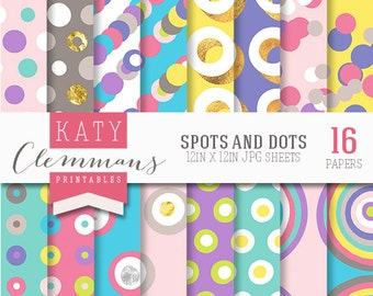 Spots and Dots digital paper pack. Colourful seamless spotty patterns. Scrapbook printable sheets - instant download.