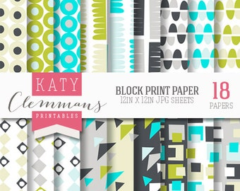 BLOCK PRINT digital paper pack, printable patterns for DIY craft & scrapbooking - instant download.
