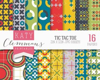 TIC TAC TOE digital paper pack. Fun noughts & crosses patterns. Scrapbook printable sheets - instant download.