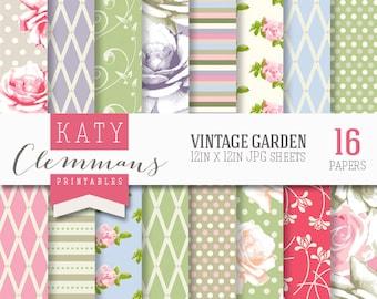VINTAGE GARDEN digital paper pack. Roses, floral, garden, vintage colours. Scrapbook printable sheets - instant download.