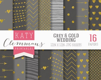 Gray and Gold WEDDING digital paper pack. Gold foil texture, luxury wedding patterns. Scrapbook printable sheets - instant download.