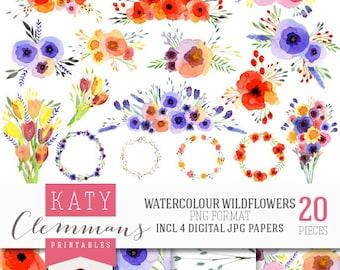 WATER-COLOUR WILDFLOWERS digital clip art & digital paper pack. Printable floral illustrations, patterns, scrapbook art - instant download.