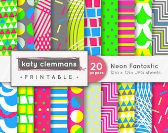 NEON FANTASTIC digital paper pack. 20 funky modern neon bright patterns. Scrapbook printable sheets - instant download.