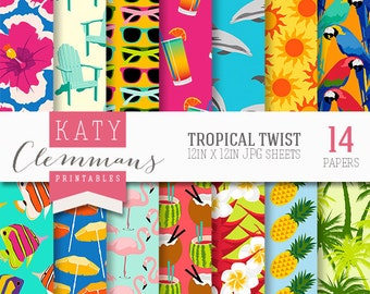 TROPICAL TWIST digital paper pack, printable colourful patterns for DIY craft & scrapbooking - instant download.