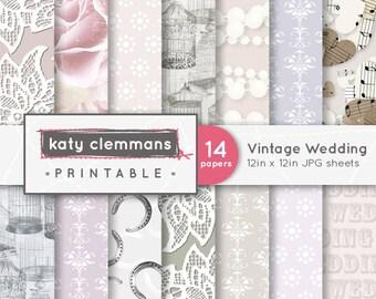 VINTAGE WEDDING digital paper pack. Roses, lace, birdcages, vintage colours. Scrapbook printable sheets - instant download.