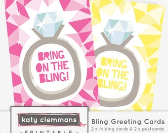 BLING engagement printable greetings card. Printable foldable cards, printable postcard illustrations - instant download.