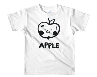 Short sleeve kids t-shirt with smiling cute apple, doodling, tee for toddlers