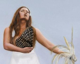 "Print of original painting ""Heritage"", Maori woman singing her welcome."