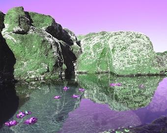 Photographic Landscape Print of rockpool, Mermaid Pool in Violet