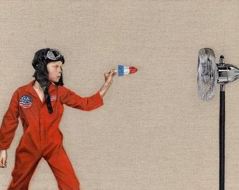 Print of Original Painting, Rocket Man, Boy with Rocket Ice Block, vintage fan