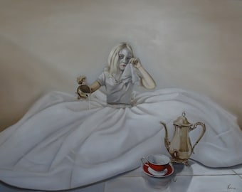 """Print of original painting """"Drama Queen"""", girl in white dress with white face and red lips and tea set"""